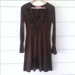 Johnny Was LA Brown Embroidered Dress